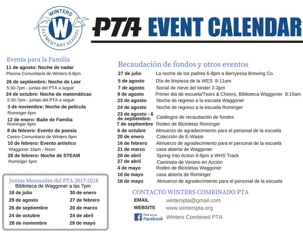 2017-2018 PTA event calendar Spanish version