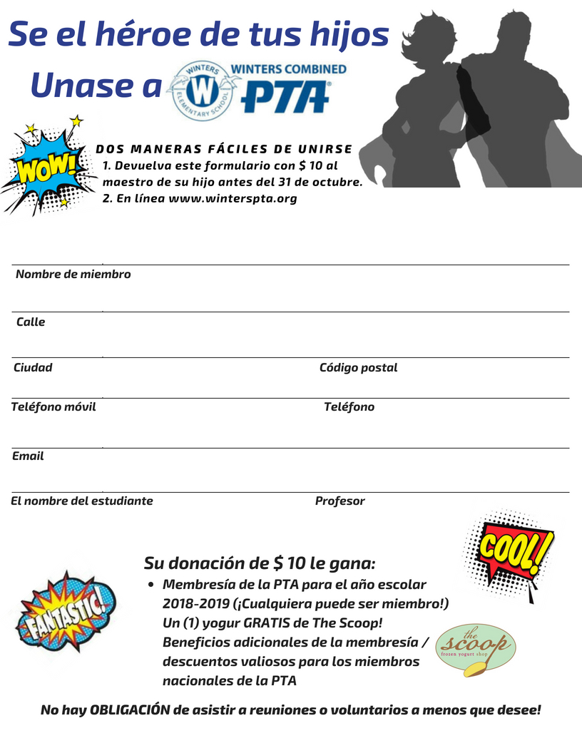 PTA Membership 2018-2019 Form  Spanish version